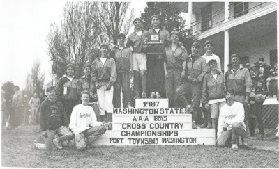 xc-1987-boys-team-on-state-podium-yearbook